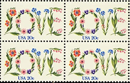 Amazon Flower Love Issue Block Of 4 X 20 Cent US Postage Stamps