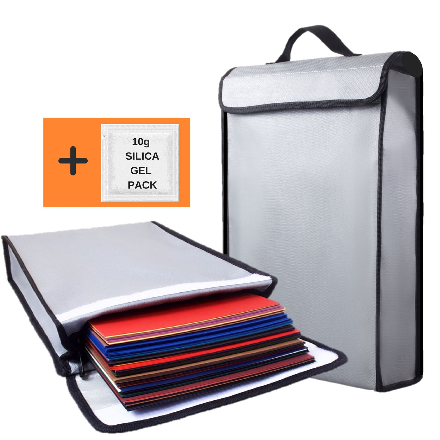 Fireproof Bag 2000°F Document Holder Waterproof Bags - Peace of Mind Security - Foldable for Fire Safe Box or Grab n Go Organizer for Money Battery Cash Legal Passport (15'' x 11'' x 3'')