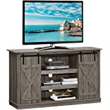 Tangkula TV Stand up to 60 Inches, Farmhouse Wood TV Stand with Sliding Barn Doors, Side Sliding Door & Height Adjustable She