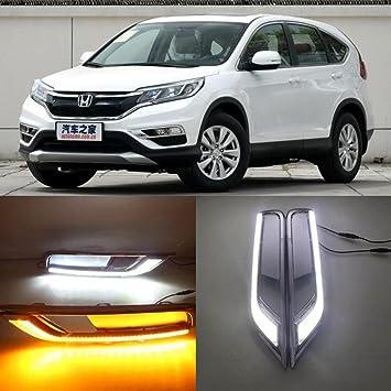 auto-tech 18-pics luz diurna luz, LED Retrofit con amarillo color de la luz DRL Kit de inflexión para Honda CR-V CRV 2015 - 2016: Amazon.es: Coche y moto