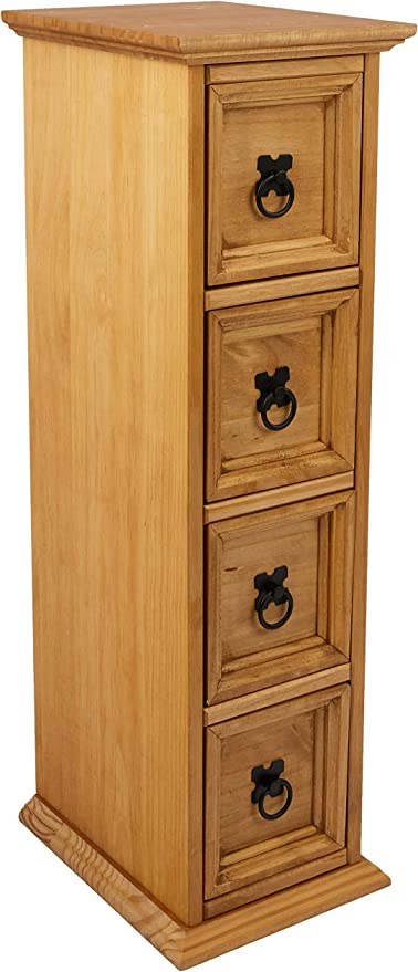 Mercers Furniture Corona - Mueble para CD y DVD (4 cajones, Madera de Pino, Acabado en Barniz Envejecido): Amazon.es: Hogar