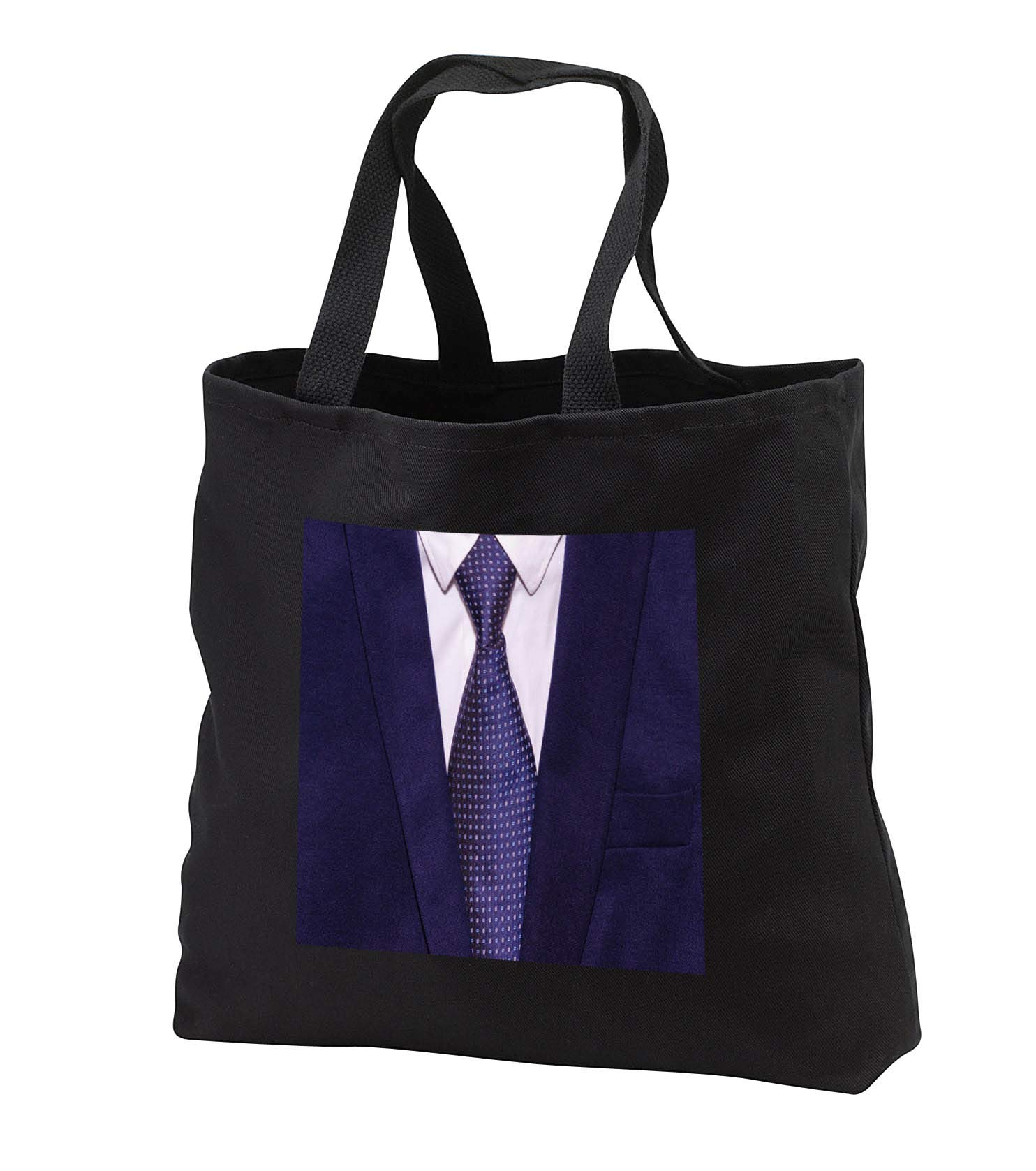 Lens Art by Florene - Décor Three - Image of A Mans Jacket Tie And Dress Shirt - Tote Bags - Black Tote Bag 14w x 14h x 3d (tb_291479_1) by 3dRose