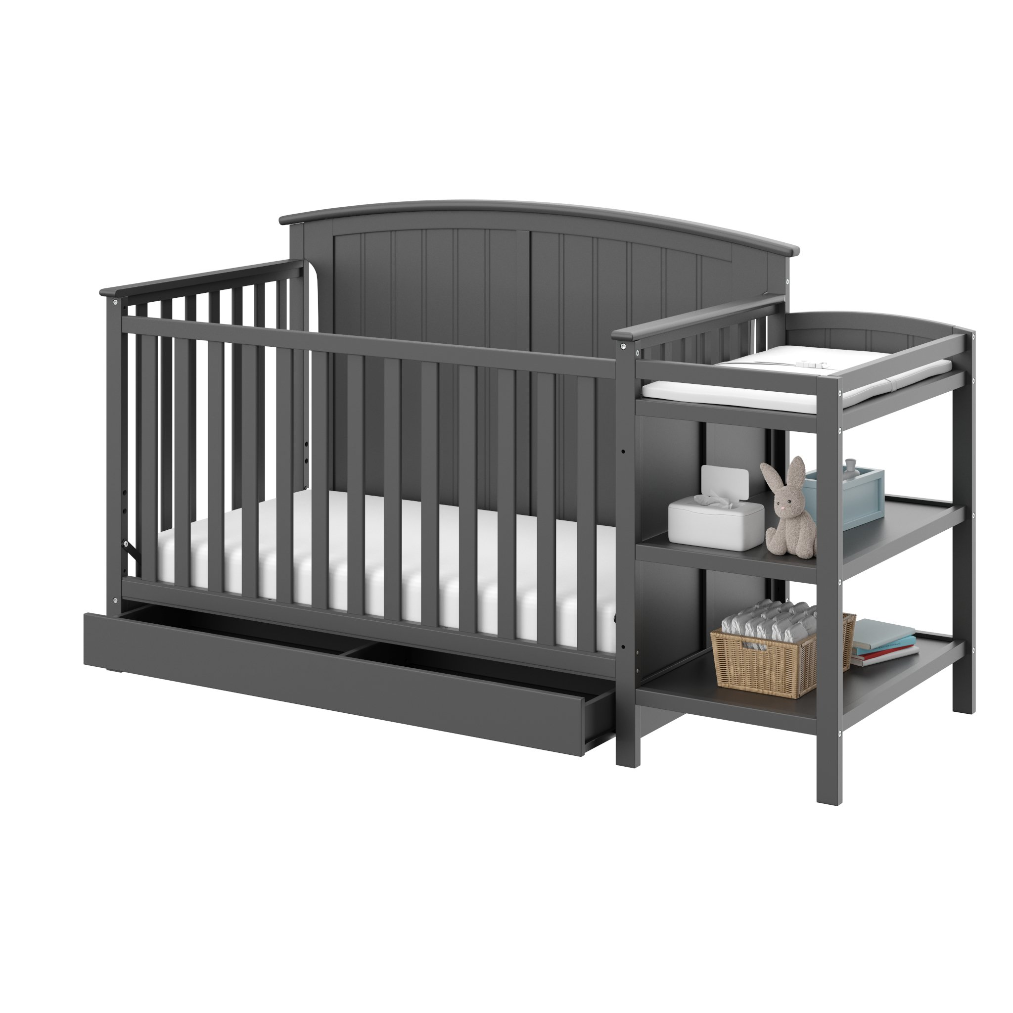 Storkcraft Steveston 4-IN-1 Convertible Crib and Changer with Drawer, Gray Easily Converts to Toddler Bed, Day Bed or Full Bed, 3 Position Adjustable Height Mattress by Storkcraft