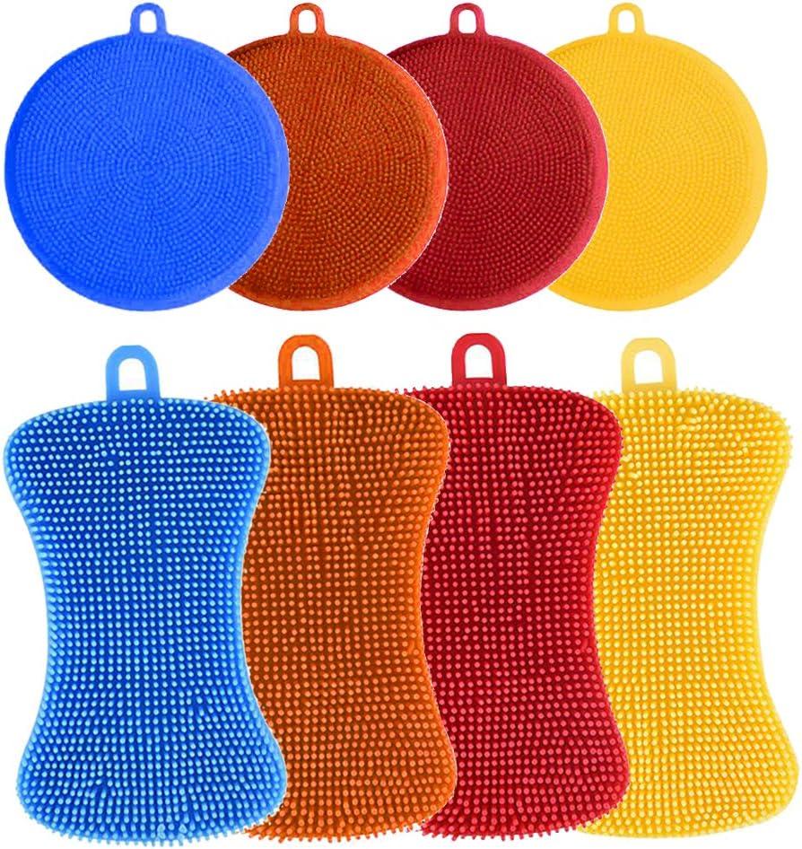 Silicone Kitchen Sponge Multiuso Cepillo para Plato Olla Verduras Fruta 8Pcs Esponjas de Silicona para Cocina