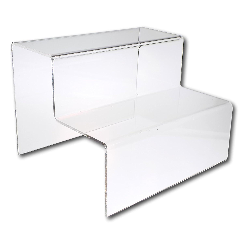 Eposgear Two (2) passo a piani in acrilico trasparente o colorato plastica retail riser Counter display Stands–perfetto per negozi, bancarelle, ornamenti, modelli ecc Grande Clear
