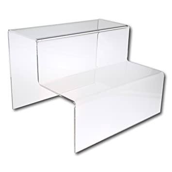 EPOSGEAR Two 40 Step Tier Clear Or Coloured Acrylic Plastic Retail Best Plastic Counter Display Stands