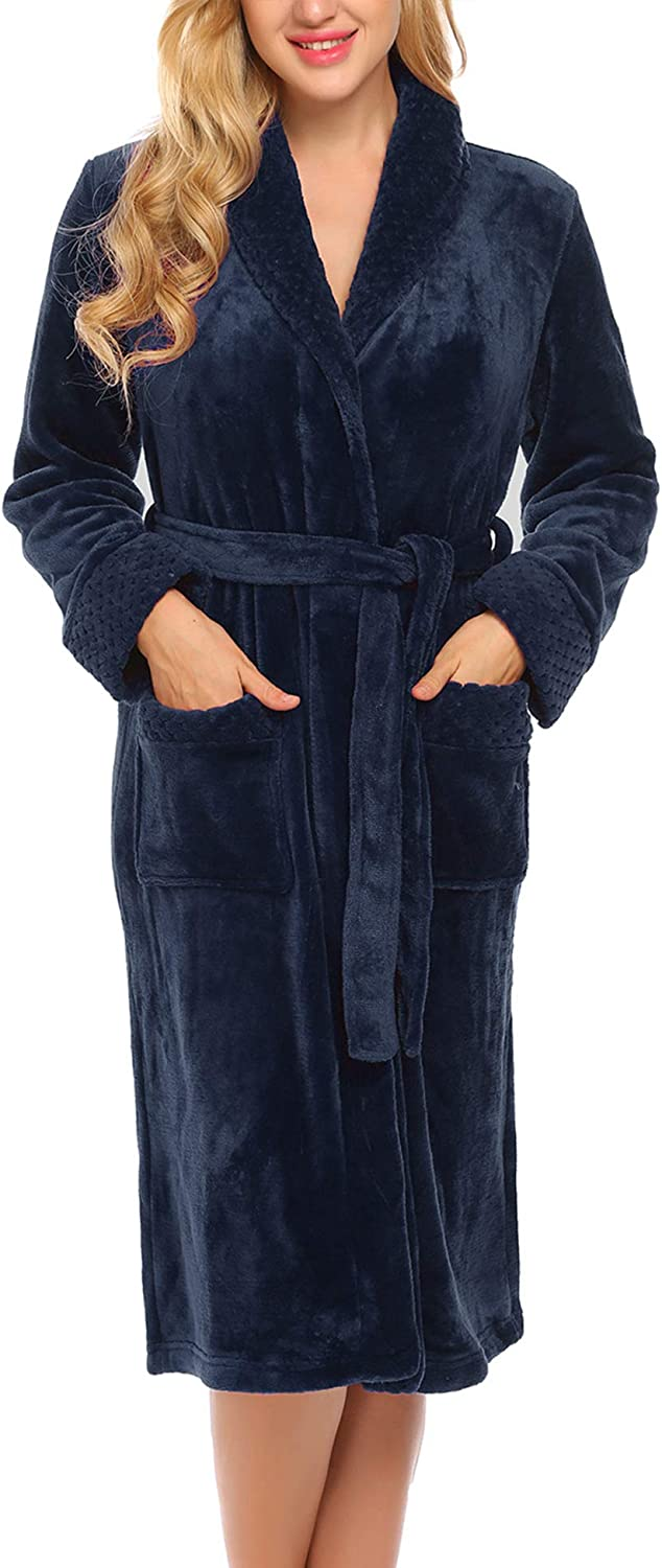 Ekouaer Womens Soft and Warm Fleece Bathrobe Kimono Spa Robe