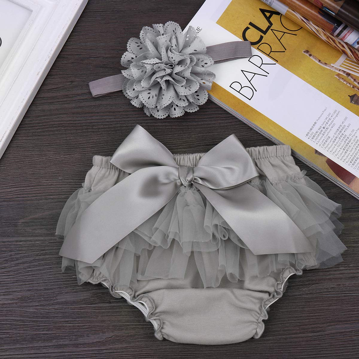 ACSUSS Newborn Baby Girls Photo Shoot Props Ruffled Cake Smash Bloomer with Headband Outfits
