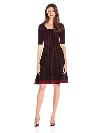 Danny & Nicole Women's Elbow Sleeve Dotted Stripe Sweater Dress, Black/Ruby, XL