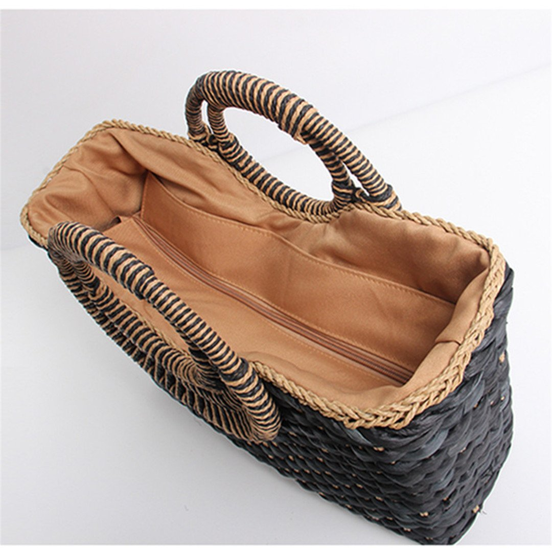 LAIHUIBAO an Style Bag Holiday Creative Weave Bamboo Handle Tote Women Big Shoulder Bag Rattan Straw Handbag Travel Basket Bag