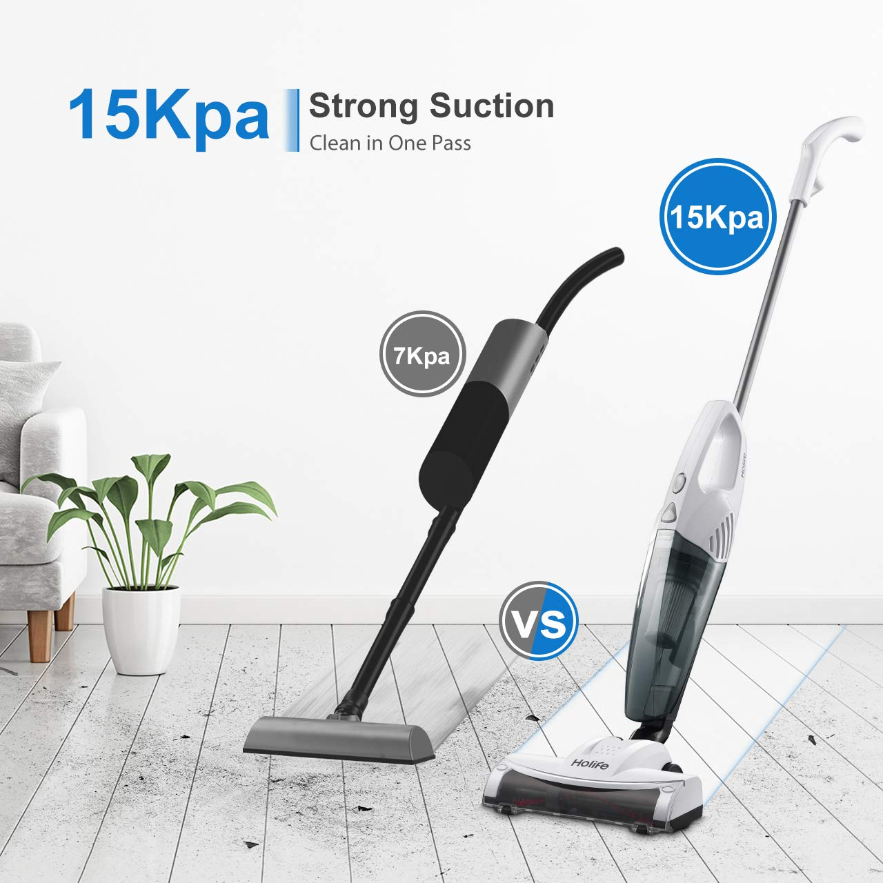Rolling Brush HoLife Stick Vacuum 2 in 1 Handheld Vacuum Cleaner with 15KPA Powerful Suction Ultra Lightweight Bagless Corded Handheld Vac HEPA Filtration