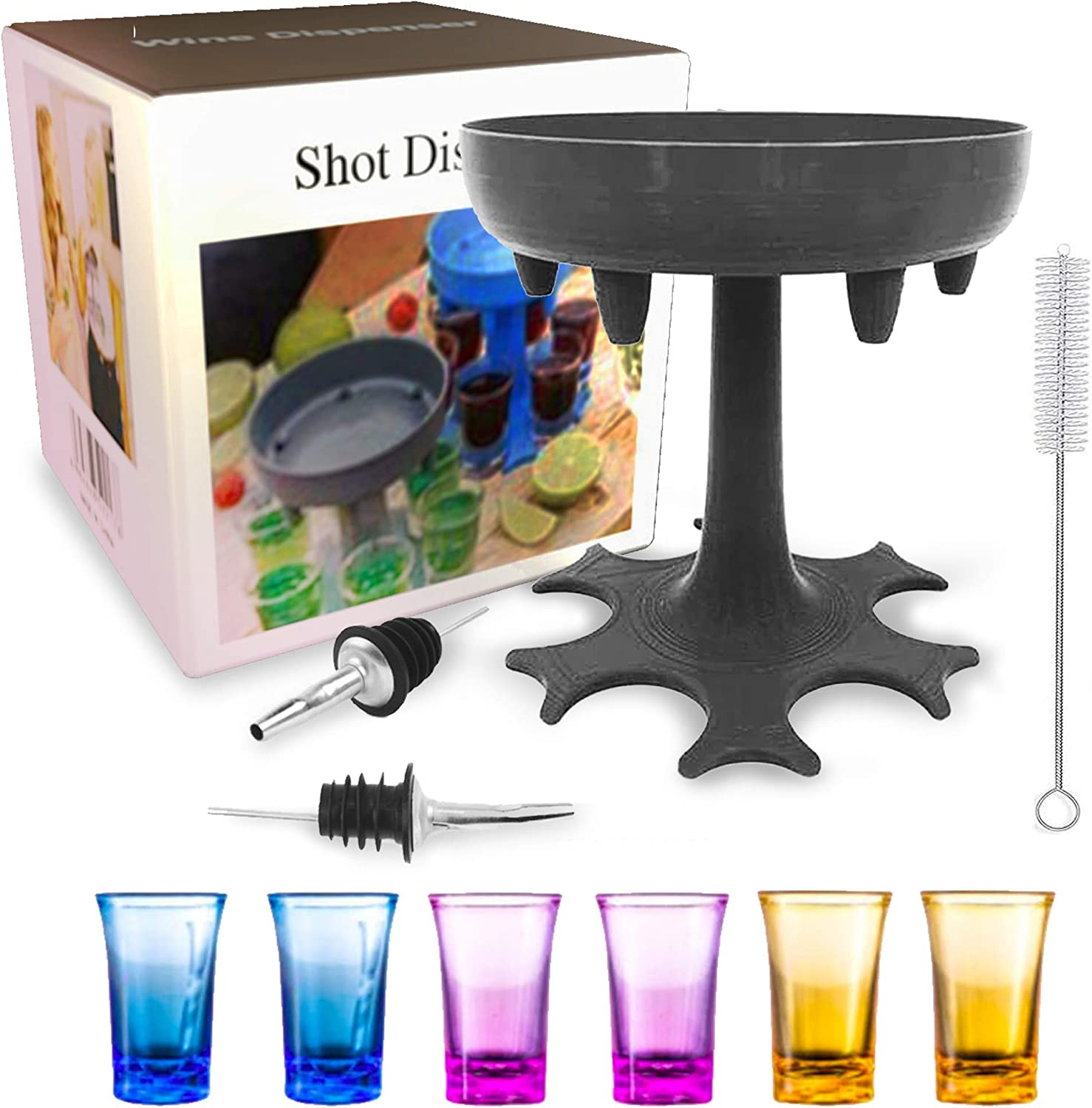 Shot Glass Dispenser Holder Set - 6 Ways Liquor Dispenser Carrier Fast Drinking Party Games With Buddy Liquor Bottle Pourers Straw Cleaning Brush By RemyLife