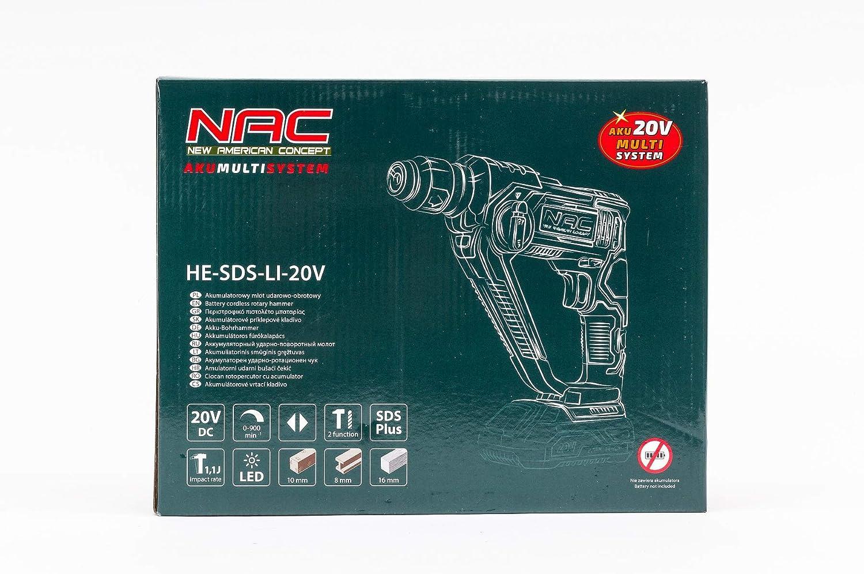 NAC NEW AMERICAN CONCEPT HE-SDS-LI-20V Martillo de impacto con bater/ía