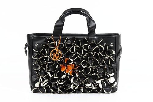 ARMANI JEANS Borsa Shopping Donna Ecopelle Fiori Nero Arancio C5291 U7   Amazon.it  Scarpe e borse dbb07799c63