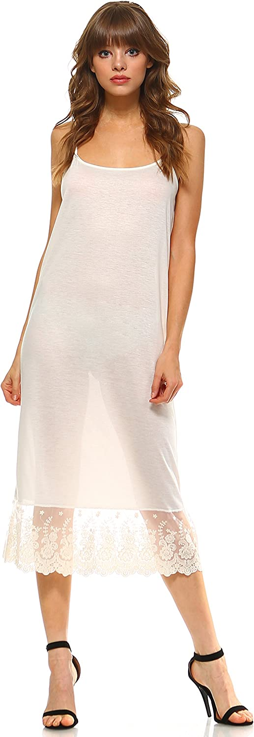 Womens Long Solid Knit lace Full Slip Dress Extender with Adjustable Straps