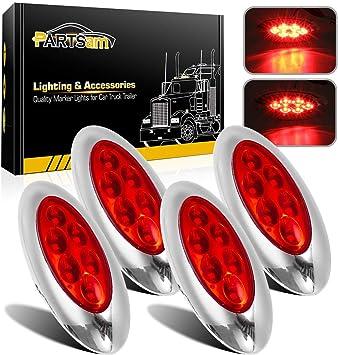 10X Smoked Lens Amber Truck Side Marker Clearance Light Oval Chrome 3 LED 12V
