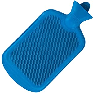 SteadMax Hot Water Bottle, Natural Rubber -Bpa Free- Durable Hot Water Bag for hot Compress & Heat Therapy, Blue Color (1 Pack)