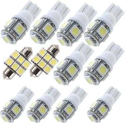 LED Interior front Map center Room sunvisor Vanity Mirror light package 5 bulbs