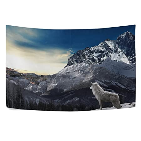 WIHVE Wolf Snow Mountain Wall Hanging Tapestry with Romantic