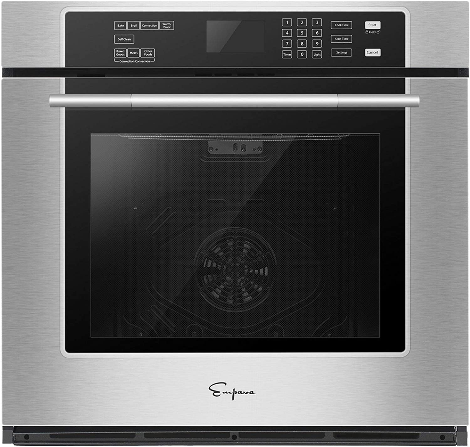 Empava 30 in Stainless Steel Single Wall Ovens with Self-cleaning Convection Fan Digital Touch Control Black, 30 Inch