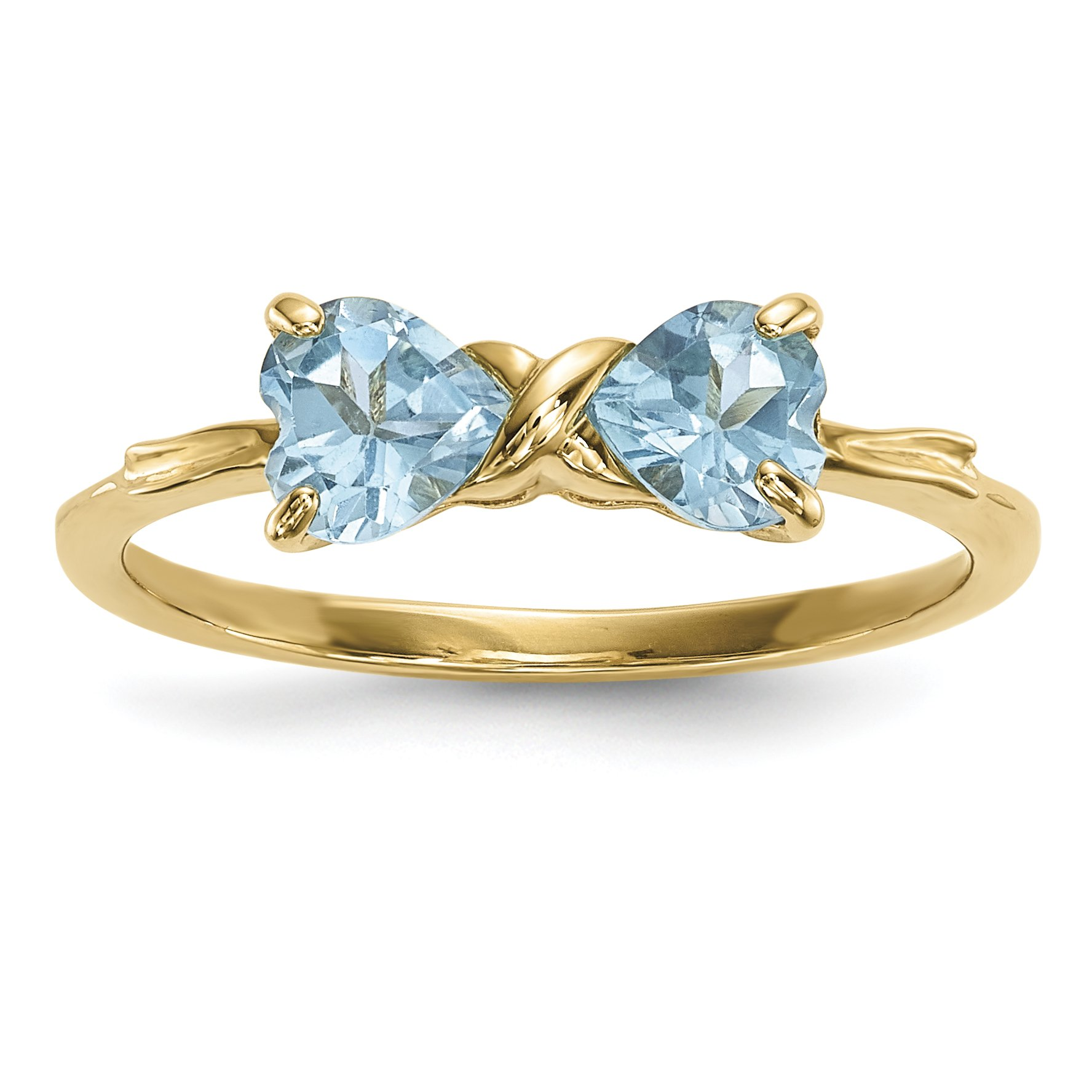 ICE CARATS 14k Yellow Gold Swiss Blue Topaz Bow Band Ring Size 7.00 Birthstone December Set Style Fine Jewelry Gift Set For Women Heart