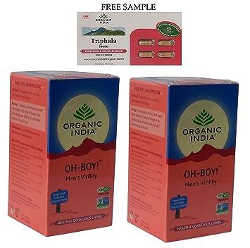Organic India Oh-Boy - 30 Veg Capsules - Pack of 2 -Free Expedited