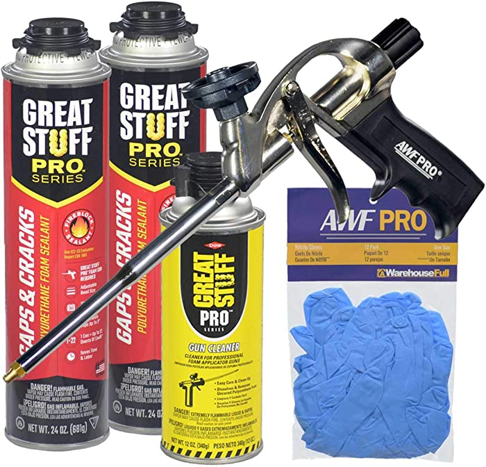 Dow Great Stuff Gaps & Cracks Foam Sealant Kit with AWF Pro Foam Gun, Great Stuff Foam Cleaner and Gloves