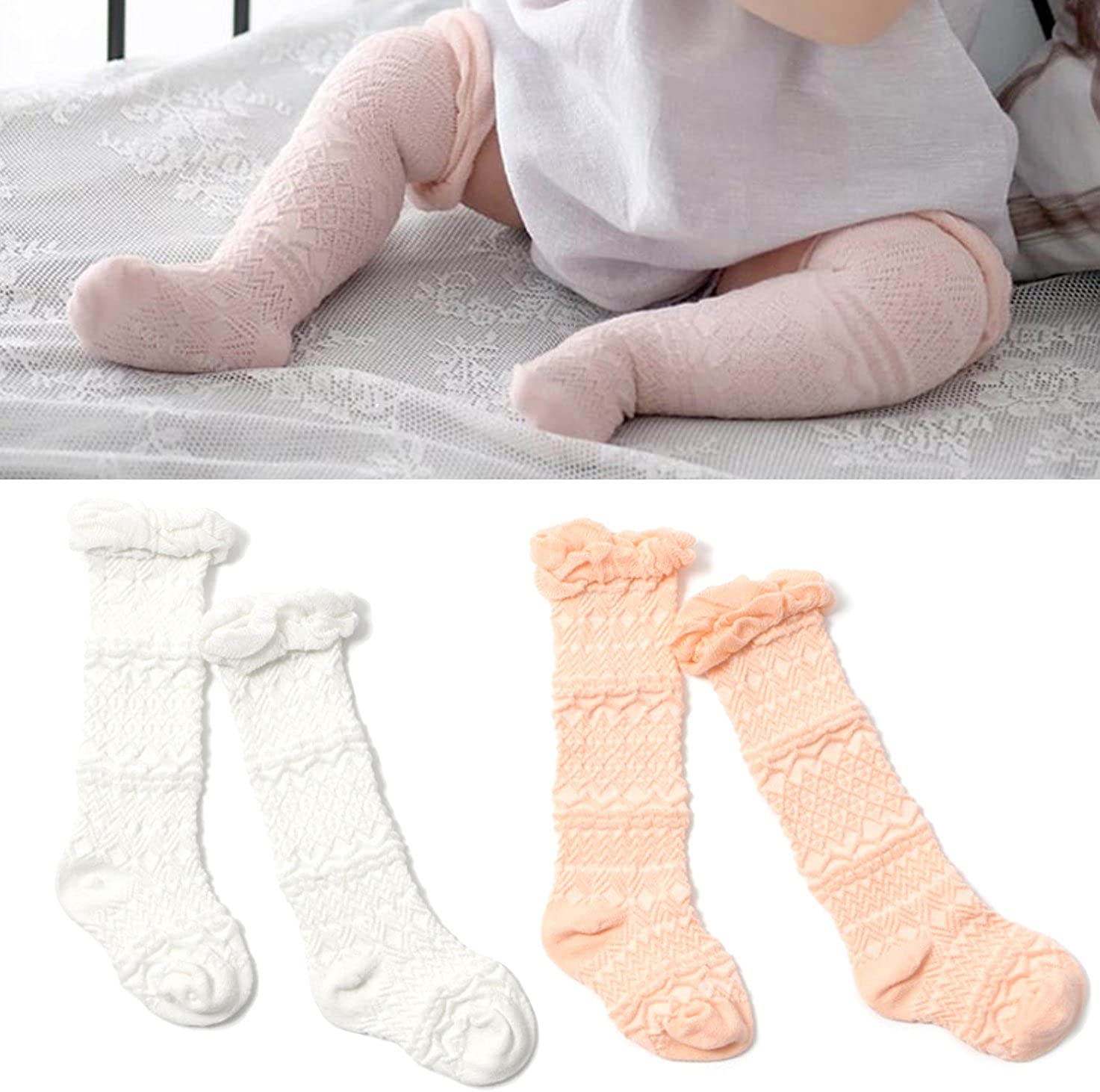 Elesa Miracle 2pc Cozy Soft Toddler Baby Leg Warmers Knee High Stocking Baby Summer Socks Baby Tube Socks