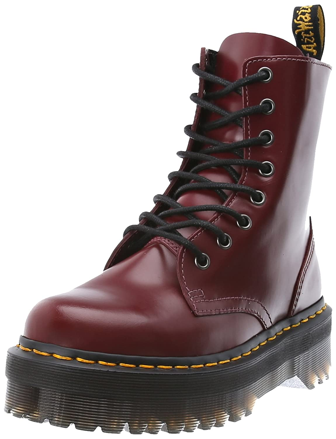Dr. Martens Women's Jadon Boot B00BC3V5I0 4 UK/6 M US|Cherry Red Polished Smooth