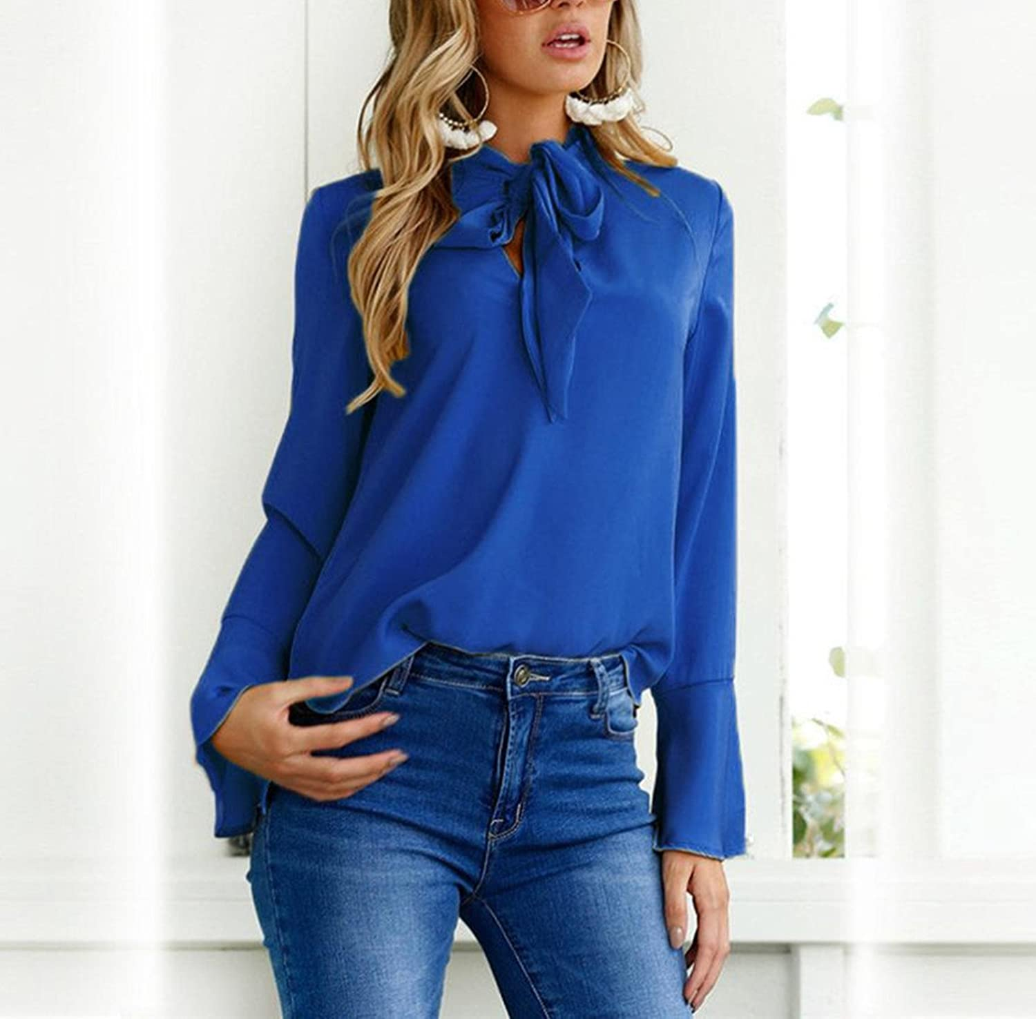 06048ea859d BSGSH Women s Blouses Tie-Bow Neck Solid Shirts Long Bell Sleeve Fashion  Tops at Amazon Women s Clothing store