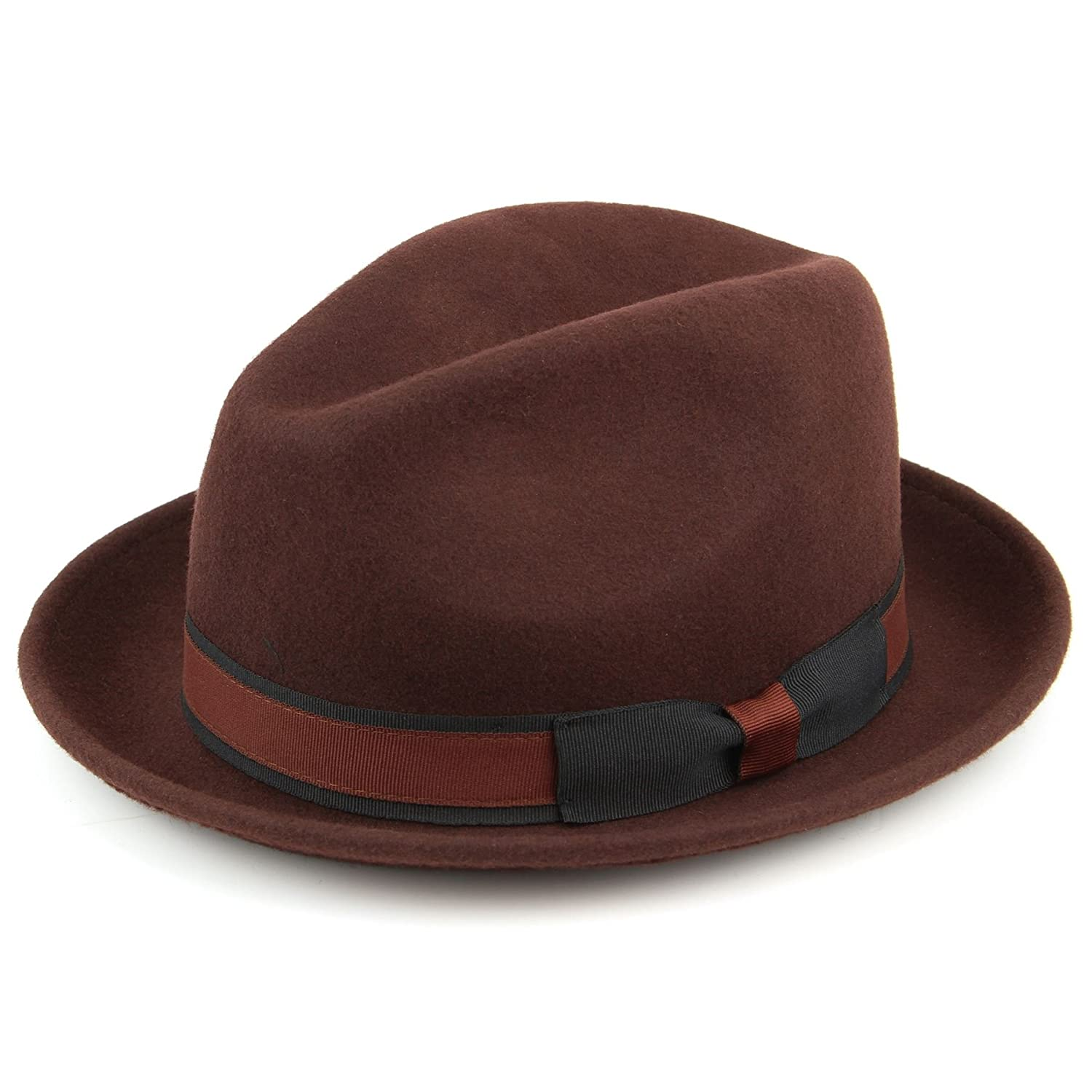 Hawkins 100% Wool Trilby hat with Contrast Band and Side Bow