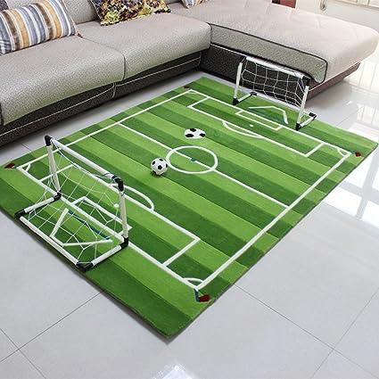 Alfombra Infantil Con Diseño De Campo De Fútbol De Velour Corto Blanca Y  Verde 173a6d72f46b0