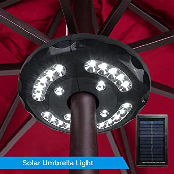 JOJOO Solar Powered Patio Umbrella Lights 24 LED 3 Lighting Modes  Rechargeable Wireless Outdoor Pole Lights
