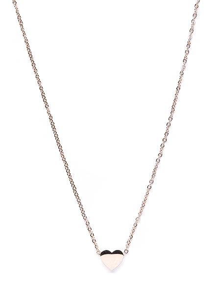 miglior servizio 9fce1 17d40 Happiness Boutique Collana Minimal in Oro Rosa con Pendente | Delicata  Catenina con Pendente a Forma di Cuore Senza Nickel e Piombo