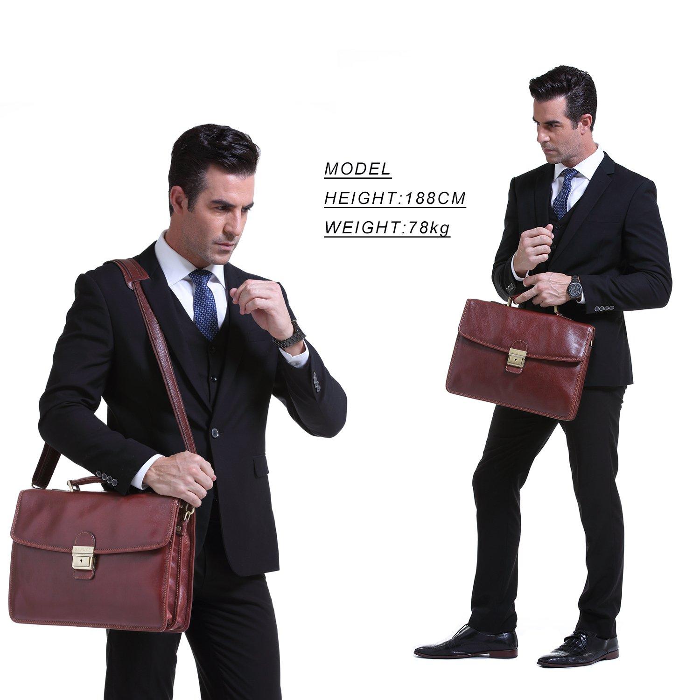 Banuce Vintage Full Grain Leather Briefcase for Men with Lock 14'' Laptop Tote Business Messenger Bag by Banuce (Image #7)