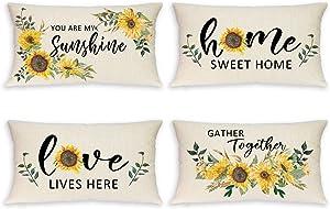 Vloso Summer Pillow Covers 12X20 Set of 4,Sunflower Pillow Covers Decorative Lumbar Pillow Case for Summer Farmhouse Decor
