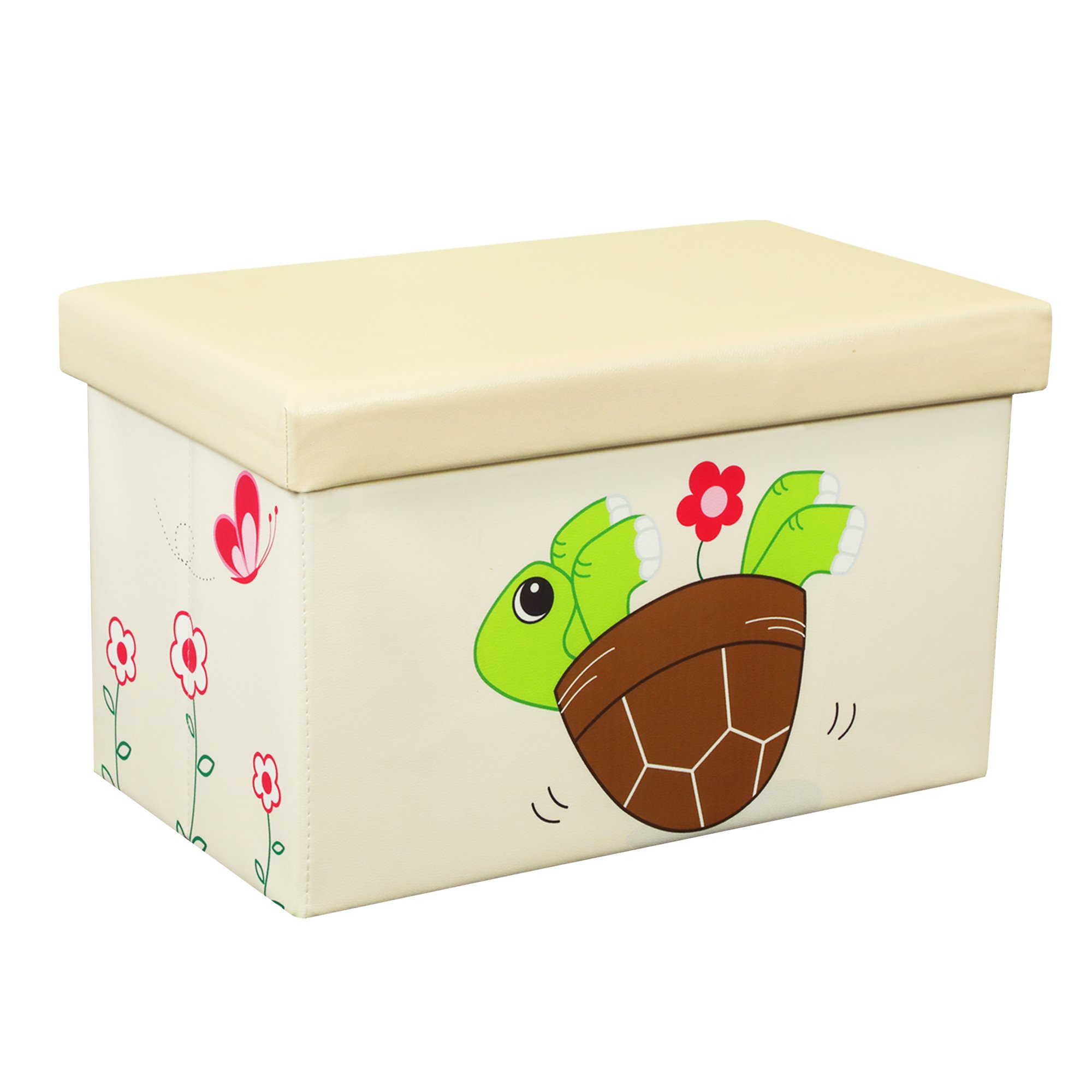 Otto & Ben 20'' Toy Box - Folding Storage Ottoman Chest with Foam Cushion Seat, Washable Faux Leather Foot Rest Stools for Kids, Turtle and Flower