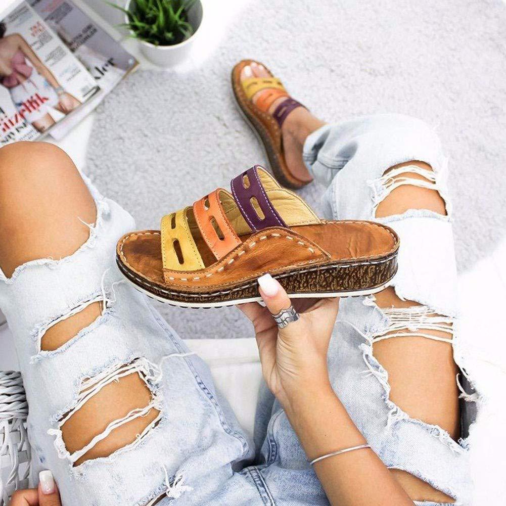WSXZ Sandalo con Cuciture Tricolore Sandalo con Plateau da Donna Sandalo Estivo da Viaggio Scarpe Antiscivolo Resistente allUsura Calzature comode