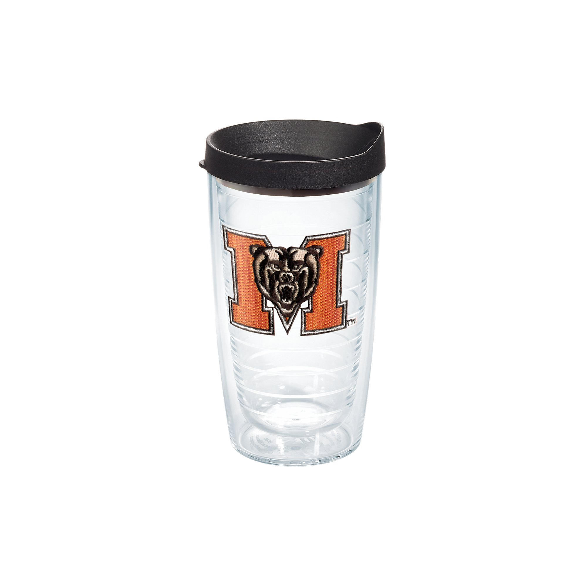Tervis 1136059 Mercer Bears Logo Tumbler with Emblem and Black Lid 16oz, Clear