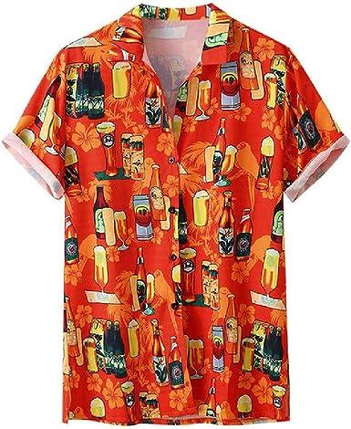 Elegante Camisa Hawaiana con Mangas Cortas M-3XL para Hombre, diseño de Festival de Cerveza: Amazon.es: Ropa y accesorios