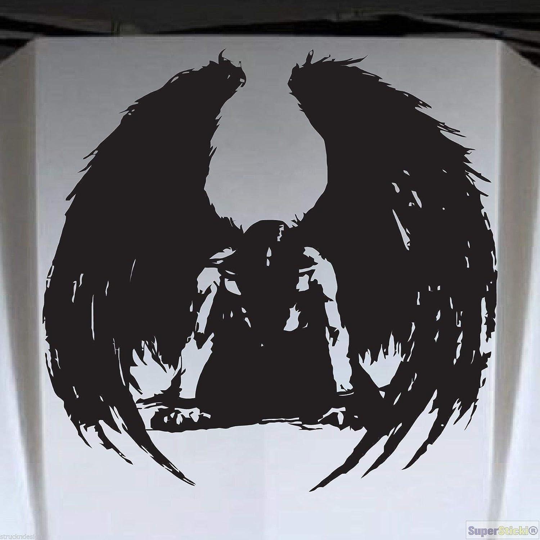 SUPERSTICKI Gothic schwarzer Engel 20cm Aufkleber Sticker Decal aus Hochleistungsfolie Aufkleber Autoaufkleber Tuningaufkleber Racingaufkleber Rennaufkleber von aus Hochleistungsfolie f/ür alle g
