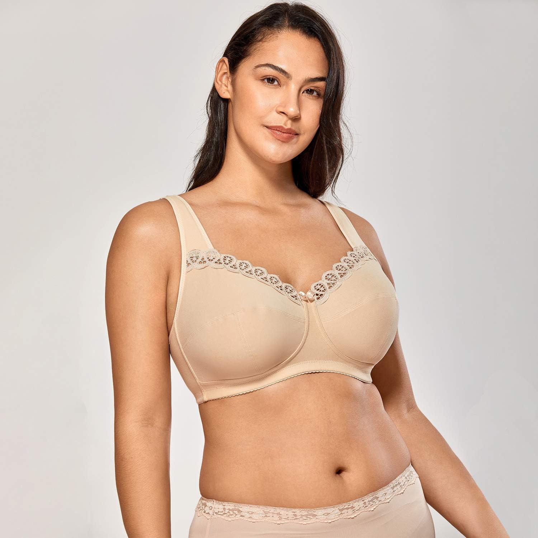 Delimira Womens Full Coverage Lace Plus Size Wireless Non Padded Cotton Bra