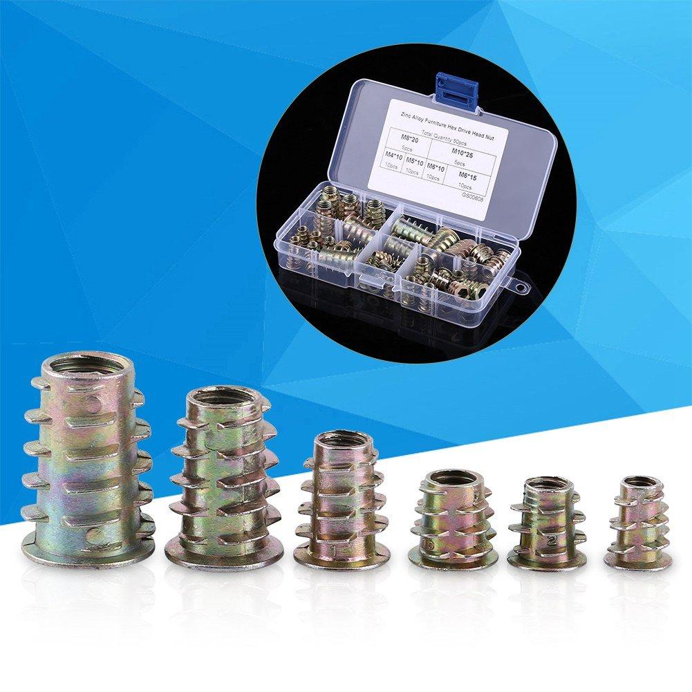 M10 Zinklegierung Einschraub-Sechskant-Einschraubmuttern Sortiment Einschraubmutter M8 M5 50 St/ück M4 M6