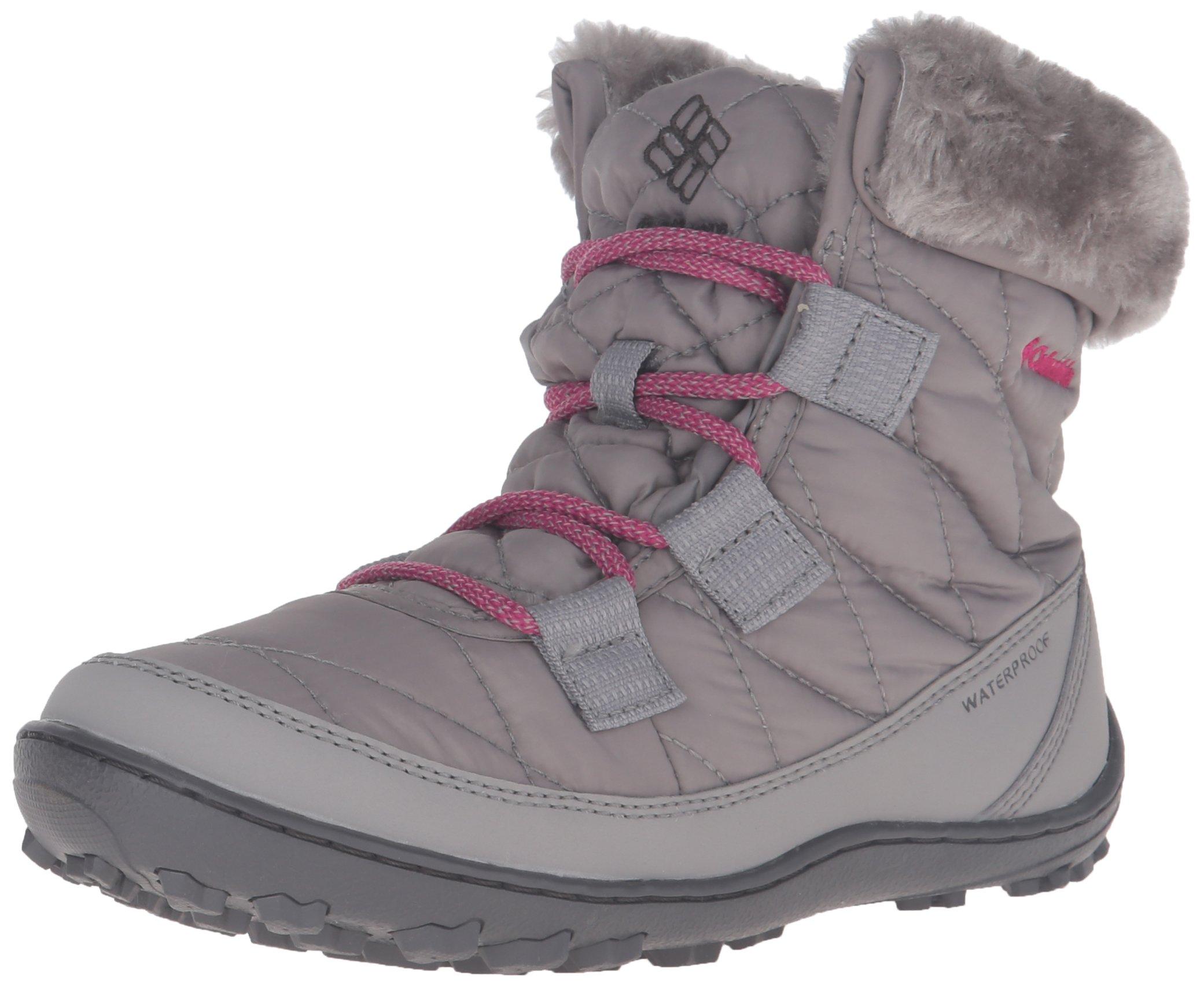 Columbia Girls' Youth Minx Shorty Omni-Heat Waterproof Snow Boot, Light Grey, Deep Blush, 2 M US Little Kid