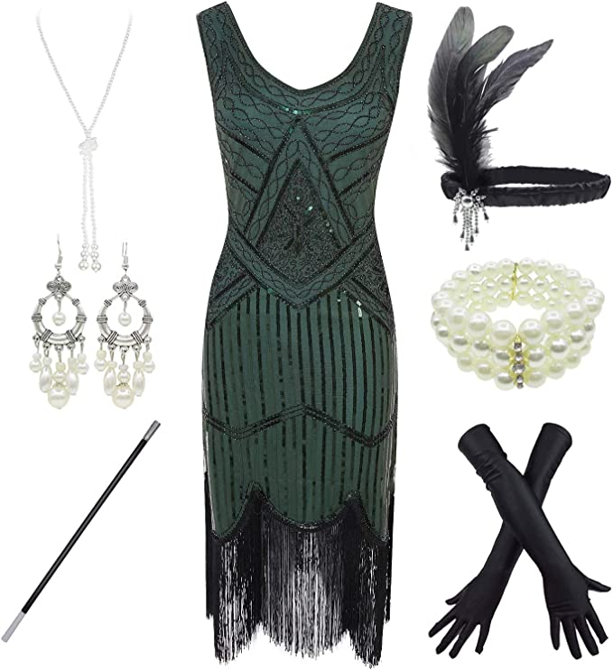 1920s Downton Abbey Dresses FUNDAISY 1920s Gatsby Sequin Fringed Paisley Flapper Dress with 20s Accessories Set £41.72 AT vintagedancer.com
