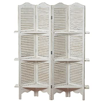 Amazoncom The Stockbridge 4 Panel White Room Divider with 3