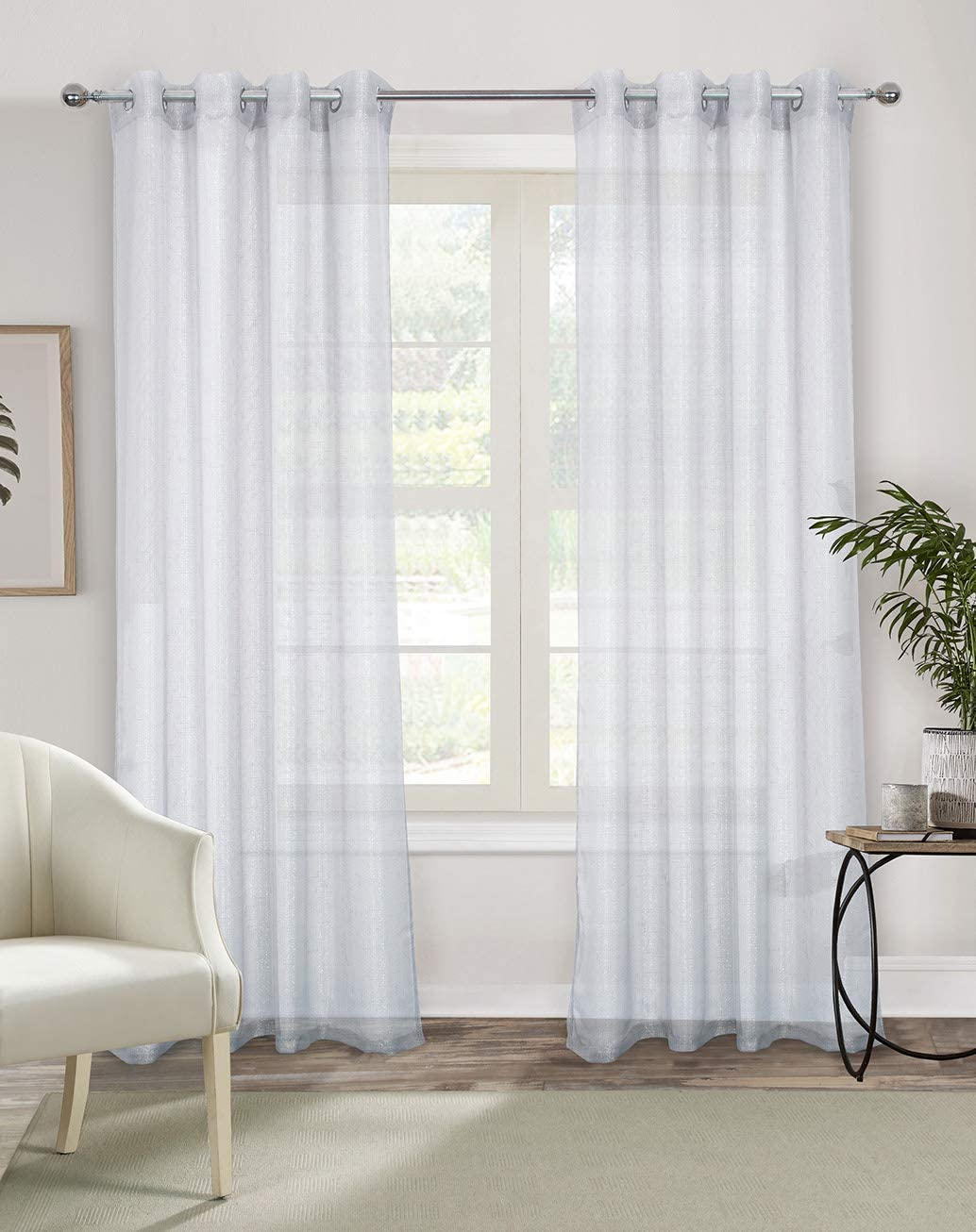 Alexandra Cole White Semi Sheer Curtains 95 Inches Long Light Filtering Curtains for Bedroom Voile Grommet Window Curtains Drapes for Living Room with Gold Wire 2 Panels