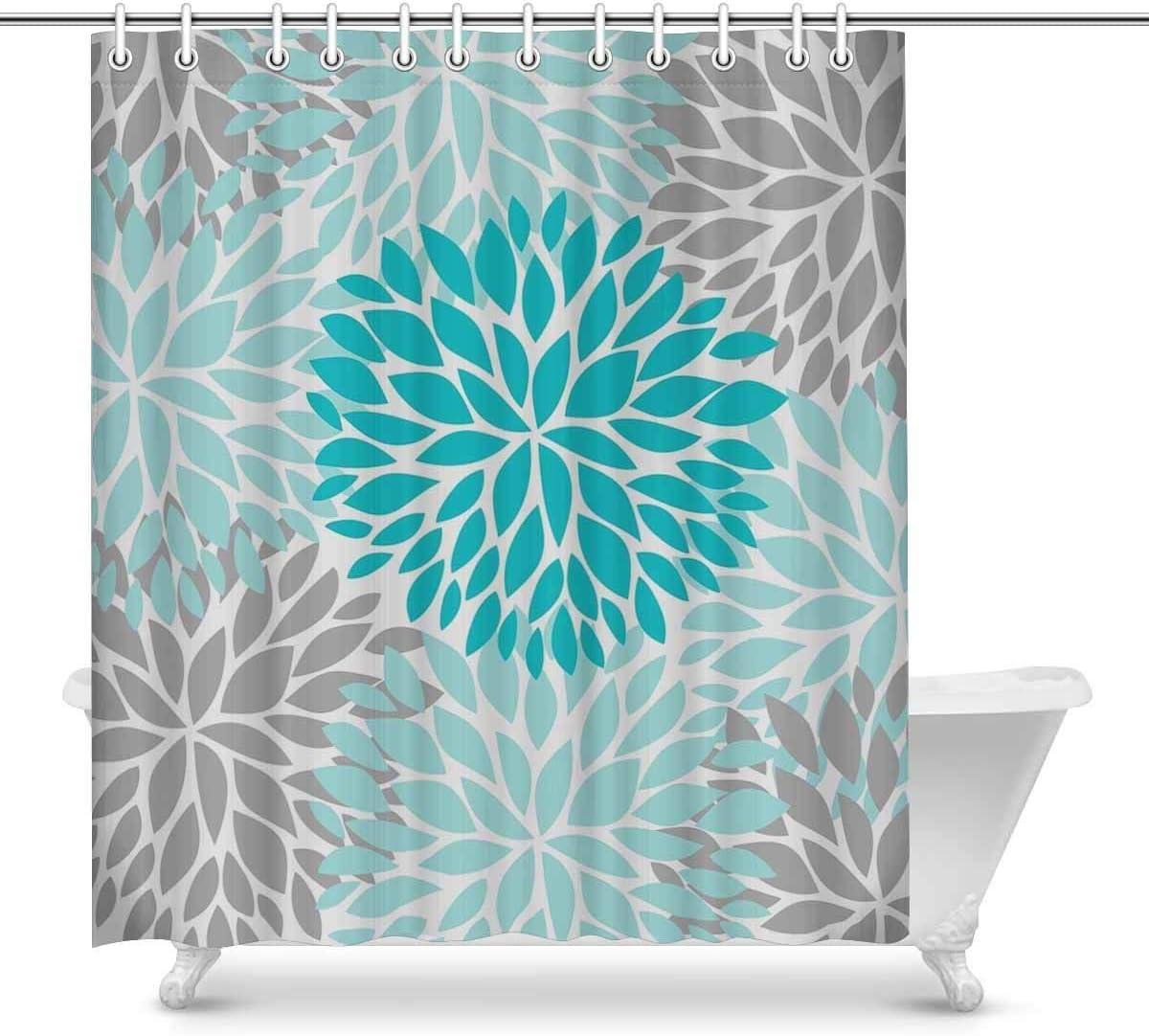 Cloud Dream Home Dahlia Pinnata Flower Turquoise Blue and Gray Shower Curtain,Waterproof Polyester Fabric Bath Curtain Design,36x72-Inch