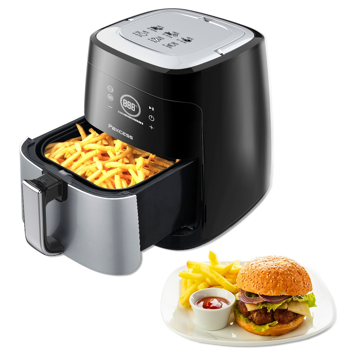 PAXCESS 3.7 Quart Touch Control Air Fryer Oil-free with 6 Cook Presets and and, a a Basket divider, Black