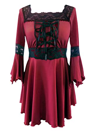 DangerousFX Red - Corset Raven Top Gothic Medieval Long Stretchy Halloween Witch Fancy Dress Sizes 8